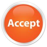 接受优质橙色圆的按钮 免版税库存照片