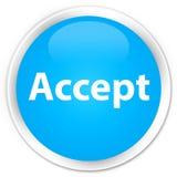 接受优质深蓝蓝色圆的按钮 免版税库存照片