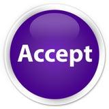 接受优质紫色圆的按钮 免版税库存照片