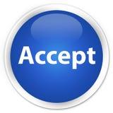 接受优质蓝色圆的按钮 库存照片