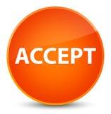 接受典雅的橙色圆的按钮 免版税库存图片