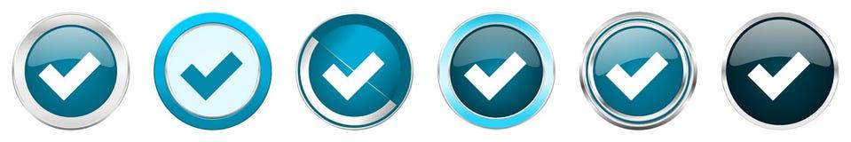 接受在6个选择,套的银色金属镀铬物边界象在白色背景隔绝的网蓝色圆的按钮 库存例证