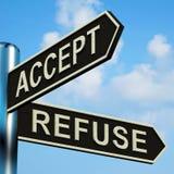 接受或拒绝在路标的方向 皇族释放例证
