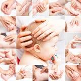 接受整骨疗法治疗收藏的小婴孩 免版税库存图片