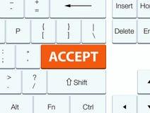 接受橙色键盘按钮 库存照片