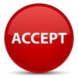 接受特别红色圆的按钮 库存照片