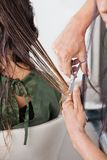 接受理发的女性客户 库存图片
