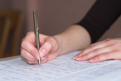 接受考试的算术 免版税库存图片