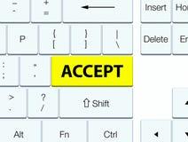 接受黄色键盘按钮 免版税库存图片