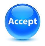 接受玻璃状深蓝蓝色圆的按钮 库存照片
