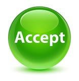 接受玻璃状绿色圆的按钮 免版税库存照片