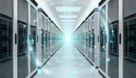 接地飞行在服务器室数据中心3D翻译的网络 免版税库存图片