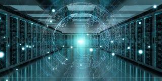 接地飞行在服务器室数据中心3D翻译的网络 皇族释放例证