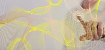 接触一个抽象波浪网络概念的人 免版税图库摄影