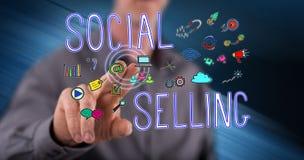 接触一个社会销售的概念的人 库存照片