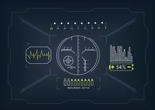 接触与高科技传染媒介illustr的HUD圆的接口 免版税库存图片