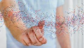 接触与他的手指的人脱氧核糖核酸结构 图库摄影