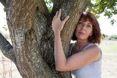 接触再保险的想法的老化妇女一棵树 免版税库存照片