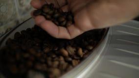 接触咖啡豆的男性手 股票录像