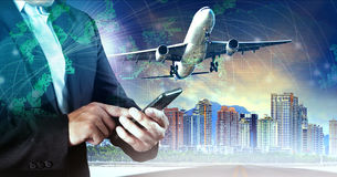 接触在巧妙的电话和空中飞机的商人飞行中间ai 库存图片