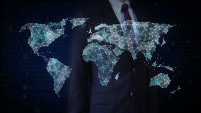 接触小点的商人聚集创造全球性世界地图,事互联网  财政技术 皇族释放例证