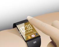 接触巧妙的手表 免版税库存图片