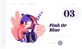 接触残疾孕妇的腹部的轮椅的男性角色 幸福家庭联系,怀孕,等候婴孩的人们 库存例证
