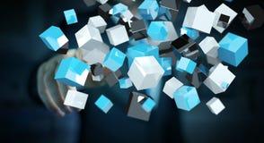接触浮动蓝色发光的立方体网络3D renderi的商人 库存图片