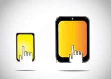 接触点击在一个橙黄五颜六色的流动片剂智能手机的年轻人的手剪影 库存照片