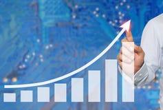 接触的商人在企业图表峰顶在抽象迷离的 免版税库存图片