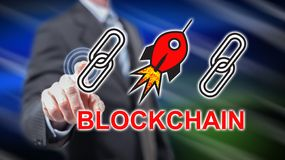 接触blockchain成功概念的人 库存图片