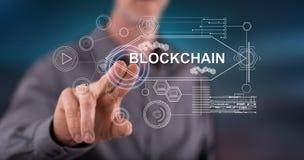 接触blockchain概念的人 免版税库存照片