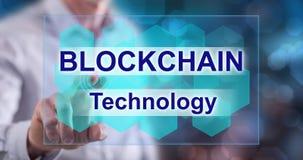 接触blockchain概念的人 图库摄影