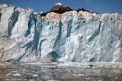 接近产犊冰川的面孔在威廉王子湾 图库摄影
