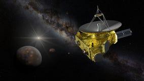 接近冥王星和冥卫一的新视野号 免版税库存照片