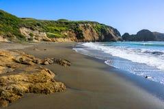 接近圈地海滩的通配岸视图在加利福尼亚 免版税图库摄影