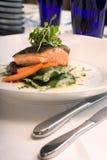 接近的三文鱼上升蔬菜 免版税库存图片