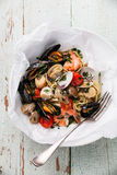 接近的免费平底锅意大利面食海鲜 图库摄影