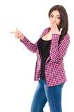 接近的女孩射击学员 免版税库存图片