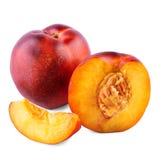 接近的开胃成熟油桃 水多和健康果子,隔绝在白色背景 可口果子,有很多维生素 库存照片