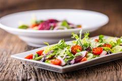 接近的沙拉被射击蔬菜 沙拉板材与菜的在土气橡木桌上 菜沙拉成份的分类  免版税库存照片