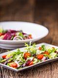 接近的沙拉被射击蔬菜 沙拉板材与菜的在土气橡木桌上 菜沙拉成份的分类  库存图片