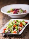 接近的沙拉被射击蔬菜 沙拉板材与菜的在土气橡木桌上 菜沙拉成份的分类  免版税库存图片