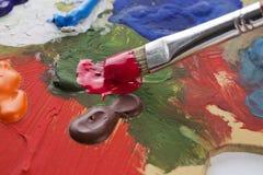 接近的油漆刷 免版税图库摄影