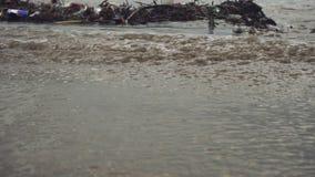 接近的波浪滚动和留下垃圾在风暴以后 影视素材