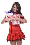 接近的礼服礼品女孩圣诞老人 免版税库存照片