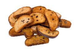 接近的葡萄干面包干 图库摄影