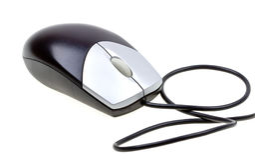 接近的计算机白色的查出的鼠标 库存图片