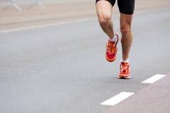 接近的马拉松运动员射击 免版税库存照片