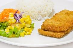 接近的鱼蔬菜的油煎的沙拉 免版税库存图片